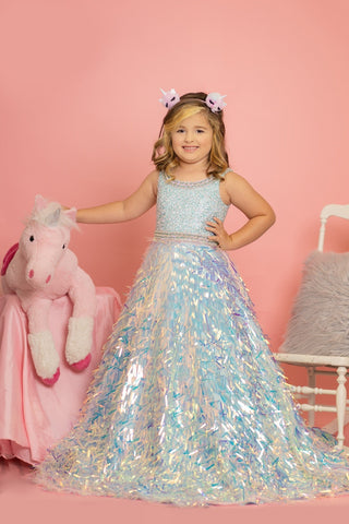 Sugar Kayne C100 by Johnathan Kayne is a Girls & Preteens long Pageant A Line Ballgown with a sequin fringe skirt. Scoop neckline with crystal embellished edges around top & waistline.   Available Colors: White, Blue/Multi, Pink/Multi  Available Size: 2-16