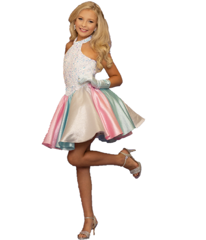 Sugar Kayne C101 by Johnathan Kayne short girls Pageant Dress  Short Fun Pastel Metallic Brocade Fit & Flare Shimmering skirt. Comfortable stretch Sequin Velvet Embellished bodice with a halter neckline. Multi Pastel vertical shimmering brocade skirt is the Sugar on top after the Lush Vibrant Velvet Bodice. Formal Fun Fashion Wear  Available Colors: Unicorn  Available Size: 2-16