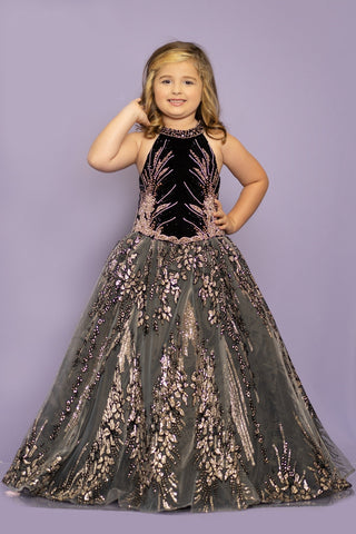 Sugar Kayne by Johnathan Kayne C108 is a Gorgeous A Line Girls Pageant Dress with a high neckline Beaded & Embellished Stretch Velvet Bodice. Glitter Embellished Organza Floral Skirt. Stunning accented skirt sets off the classic bodice of this Gown.  Available Colors: Black/Rose Gold  Available Size: 2-16