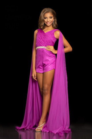 Sugar Kayne C111 by Johnathan Kayne is a Girls & Preteens Satin Lined Pageant Romper. Featuring a gathered chiffon V Neckline Bodice with a Crystal Embellished Waist Belt and Satin Bottoms on this Fun Fashion Kids Romper. Flowing Chiffon Shoulder Cape pieces add a flare of Sass to this Classic Pageant look with a new twist!  Available Colors: Magenta, Tangerine  Available Size: 2-16