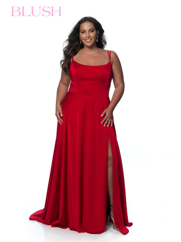 Blush TOO C2095W Long A Line Plus Size Prom Dress Slit Scoop Neck Crepe 2020