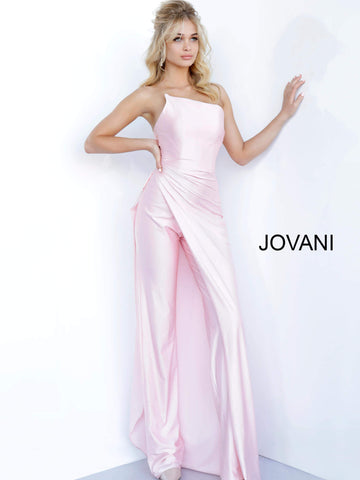 Jovani 68563 strapless jumpsuit with overskirt