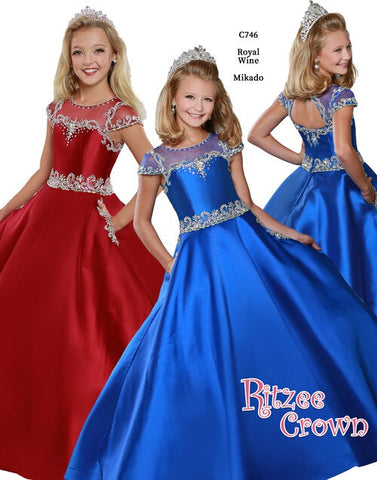 Ritzee Girls C746 Long Pageant Dress Embellished Ballgown Pockets Sheer Cap Sleeve 2020