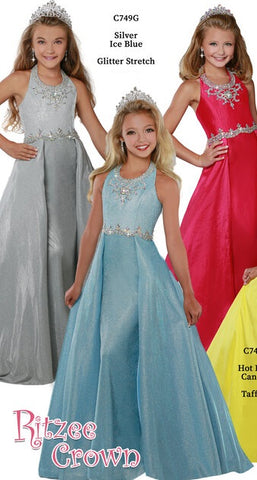 Ritzee Girls 749 Long Fitted Girls Pageant Dress Over Skirt Gown Halter Shimmer