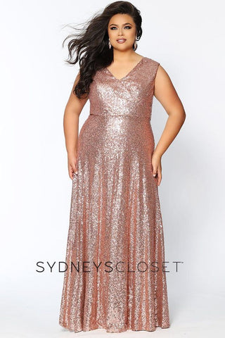 Sydney's Closet CE1801 Long Sequin Plus Size Prom Dress Formal Evening Gown