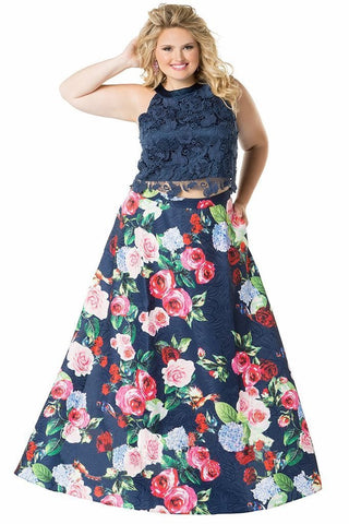 SYDNEY'S CLOSET CE1804 Size 26 Two Piece Lace Formal Dress Floral Prom Plus