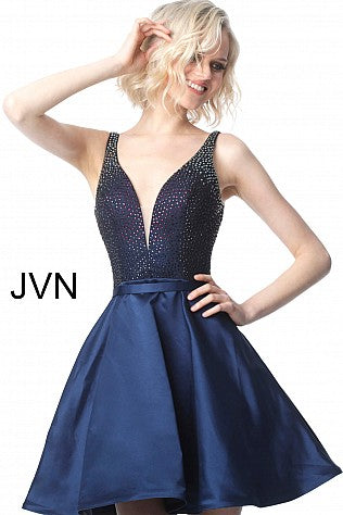 JVN by Jovani 2470 plunging neckline Crystal embellished bodice cocktail dress with short fit and flare skirt. Plunging neckline with mid rise back.