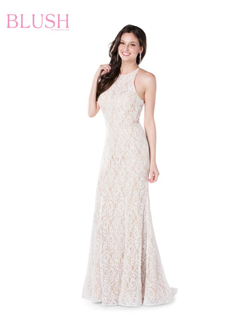 Blush Prom Dress 11853 Is a Long Sequin Embellished Prom Dress with a sheer Illusion Lace High Neckline with halter straps leading to an open corset back. slight mermaid silhouette adds glam to this Gown!  Available in Sizes 0-24  Colors: Navy, Off White, Yellow