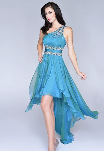 Nina Canacci 1017 Prom Dress Teal size 10 High Low Iridescent one shoulder Crystal