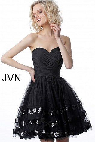 JVN by Jovani 2462 sweetheart neckline ruched bodice short fit and flare cocktail dress with sequin embellished Tulle trim skirt.