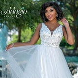 Adagio Bridal D1413 V neckline beaded applique lace and tulle A line skirt with layers and horsehair trim destination bridal gown wedding dress  Colors  Ivory, White  Sizes 00, 0, 2, 4, 6, 8, 10, 12, 14, 16, 18, 20, 22, 24, 26, 28, 30