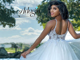 Adagio Bridal D1557 Plunging v neckline with mesh panel beaded applique tulle destination bridal gown with layered tulle A line skirt wedding dress ball gown Colors  Ivory, White  Sizes  00, 0, 2, 4, 6, 8, 10, 12, 14, 16, 18, 20, 22, 24, 26, 28, 30