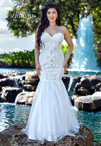 Adagio Bridal D1569 strapless sweetheart neckline beaded sequin and tulle long destination bridal gown wedding dress  Colors  White  Sizes  00, 0, 2, 4, 6, 8, 10, 12, 14, 16, 18, 20, 22, 24, 26, 28, 30