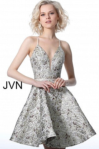 JVN by Jovani 3821 open back criss cross tie straps fit and flare cocktail dress. Featuring a classy metallic shimmer print fabric. Plunging neckline with sheer mesh insert cocktail dress or homecoming dress. Jovani JVN3821  Available Colors: Blue, Gold  Available Sizes: 00-24