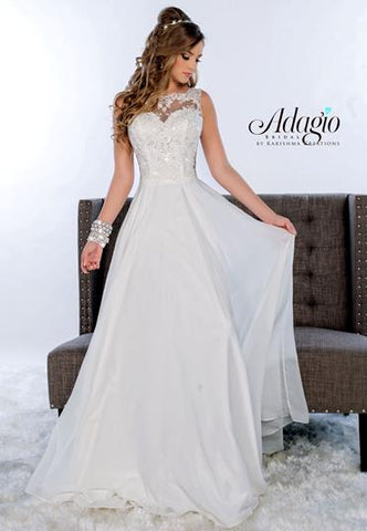 Adagio Bridal D9142 Sheer lace neckline sleeveless embellished bodice and a sheer open back embellished with lace with a flowy chiffon a line long skirt wedding dress.  9142  Destination Bridal Gown Wedding Dress  Available colors:  White, Ivory