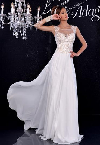 Adagio Bridal D9143 Sheer Lace Wedding Dress Chiffon Bridal Gown Sweetheart Open Back