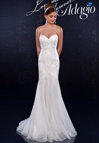 Adagio Bridal D9146 Long Fitted Lace Bridal Gown Mermaid wedding dress Ivory