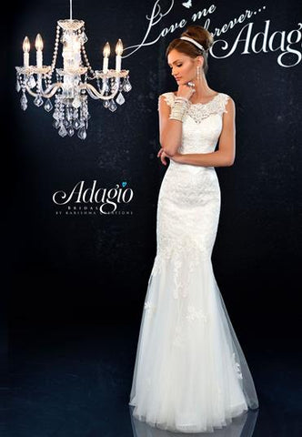 Adagio Bridal D 9147 lace and tulle mermaid bridal gown