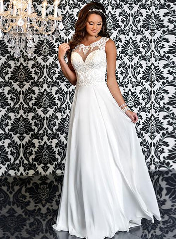 Adagio Bridal 9150 Ivory Chiffon Sheer Lace Wedding Dress Embroidered Bridal Gown Open Back