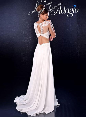 Adagio Bridal D 9163 Long Chiffon Sheer Lace Wedding Dress Open Back Train