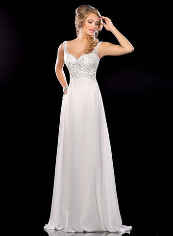 Adagio Bridal D 9211 Size 20, 24 Long Chiffon Wedding Dress Beaded Straps V Neck Pockets