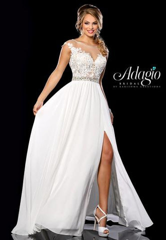 Adagio Bridal D9216 sheer neckline lace bodice cap sleeve long flowy wedding dress destination bridal gown Available sizes:  00, 0, 2, 4, 6, 8, 10, 12, 14, 16, 18, 20, 22, 24, 26, 28, 30  Available colors:  Ivory/Nude, White/Nude