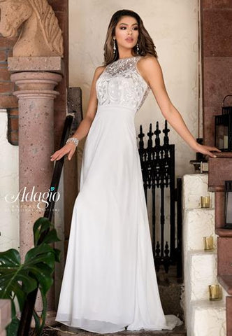 Adagio Bridal D9221 sheer lace neckline lace and chiffon bridal gown