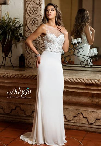Adagio Bridal D9223 sheer embellished neckline bridal gown