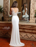 Adagio Bridal D 9223 sheer Fitted embellished neckline Wedding Dress bridal gown Sweetheart