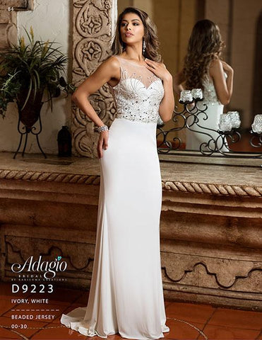 Adagio Bridal D 9223 Long Jersey Embellished Wedding Dress Sheer Back Fitted