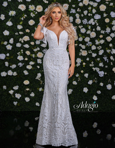 Adagio Bridal D9230 Sequin Lace Ruffle Sleeve Plunging Neckline Wedding Dress Open Back