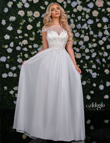 Adagio Bridal D9231 Long Wedding Dress Sheer Lace  Bodice Cap Sleeve Chiffon Skirt