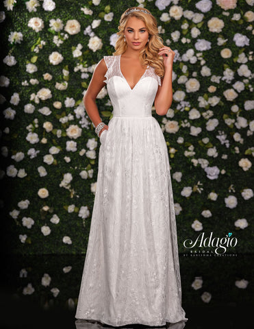 Adagio Bridal D9232 is a long lace wedding dress with a V neckline and sheer lace illusion straps leading to a ruffle straps with keyhole cutout in the back.   Available Sizes: 00-30  Available Colors: Ivory, White