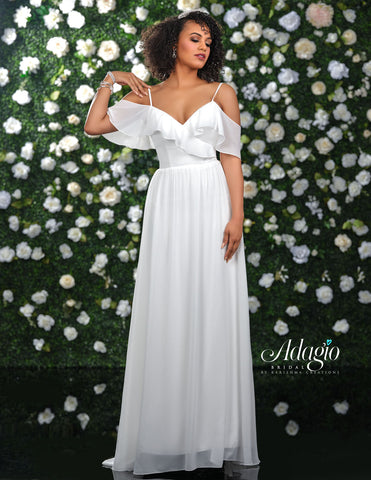 Adagio Bridal D9233 is a long Chiffon wedding dress with a V neckline and a flowing chiffon skirt. Ruffle off the shoulder chiffon straps add a touch of elegance to this gown.  Wedding Dress, Destination Bridal Gown   Available Sizes: 00-30  Available Colors: Ivory, White