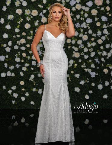 Adagio Bridal D9234 Long Lace Mermaid Wedding Dress Spaghetti Straps Open Back