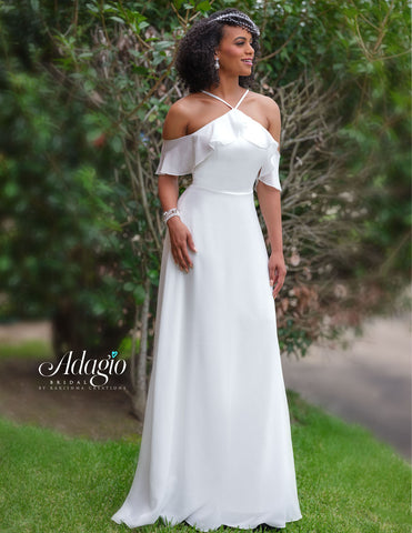 Adagio Bridal D9235 is a long Flowing Chiffon wedding dress with a Halter Neckline and Off the shoulder Chiffon Sleeves. Destination Bridal gown   Available Sizes: 00-30  Available Colors: Ivory, White