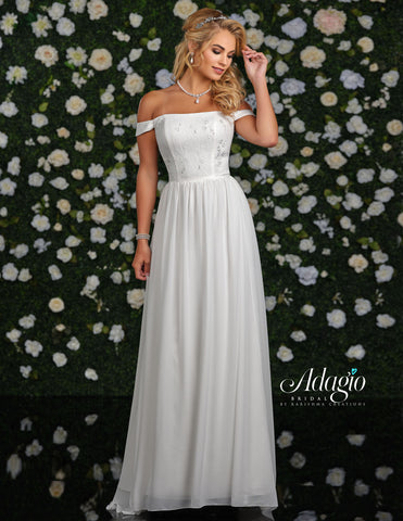 Adagio Bridal D9236 is a long Flowing Chiffon and Lace wedding dress with a straight Neckline and Off the shoulder lace Sleeves.  Destination Bridal Gown, Wedding Dress  Available Sizes: 00-30  Available Colors: Ivory, White