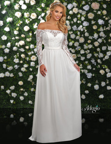 Adagio Bridal D9237 Long Lace Chiffon Wedding Dress Sheer Lace Long Sleeve Bodice