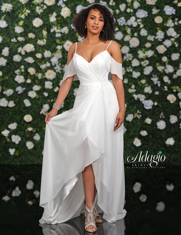 Adagio Bridal D9238 is a long Flowing Chiffon wedding dress with a V Neckline and Gathered asymmetrical Bodice. Features off the shoulder flowy sleeves and a side slit.   Available Sizes: 00-30  Available Colors: Ivory, White