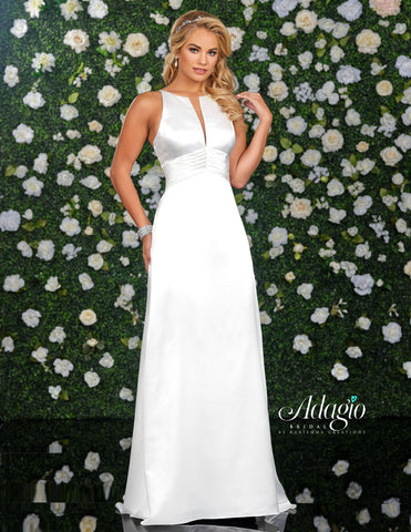 Adagio Bridal D9239 Long Satin Wedding Dress High Neckline Open Back Gown