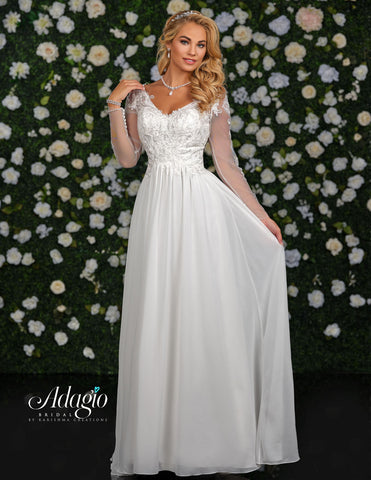 Adagio Bridal D9240 is a long Chiffon wedding dress with a Lace Bodice and V Neck. Lace Embellished tulle long sleeves. Destination Bridal Gown. Wedding Dress.   Available Sizes: 00, 0, 2, 4, 6, 8, 10, 12, 14, 16, 18, 20, 22, 24, 26, 28, 30  Available Colors: Ivory, White