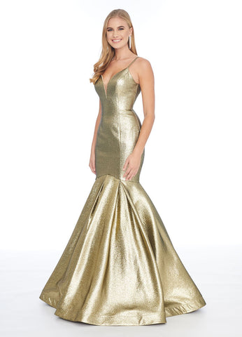 Ashley Lauren 1860 v neckline metallic brocade mermaid prom dress evening gown pageant gown Long Fitted metallic mermaid prom dress Pageant Gown Metallic madness! Metallic is all the rage this season. This V-neck spaghetti strap gown complete with a fit and flare skirt is sure to stand out. Glass Slipper Formals
