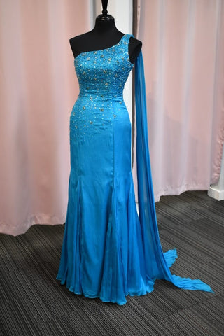 Johnathan Kayne JK535 Prom Dress Teal Size 8 Pageant Gown Designer