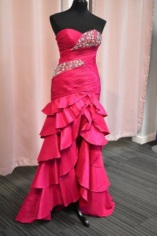 Prom Dress Fuchsia Size 8 Mermaid Ruffle Long corset