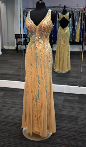Primavera Couture 9874 V neckline long sequin dress in Nude size 0, 8 Prom Pageant