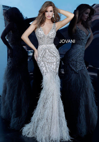 Jovani 02798 Sheer Feather Mermaid Embellished Formal Evening Gown Couture