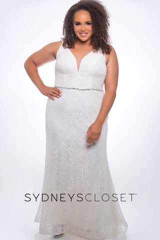 Sydneys Closet SC 7279 white size 22 fitted v neckline lace prom dress evening gown
