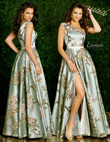Envious Couture 1405 Karishma Creations Long Ball Gown Prom Dress Print 2020 One Shoulder