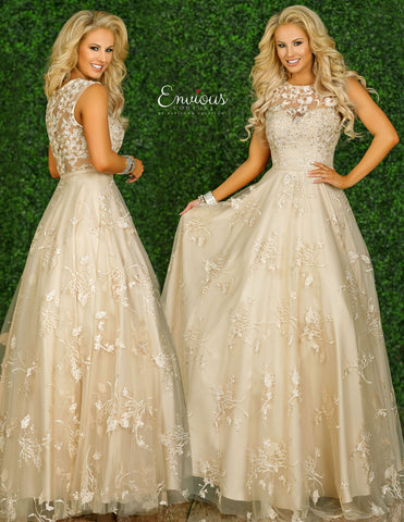 Envious Couture E1407 Karishma Creations is a Embroidered & Embellished Tulle Ballgown with a sheer high neckline with a sweetheart silhouette neckline. Sheer embroidered back.  Plus sized prom dress, evening gown, formal long dress.   Available Sizes: 18, 22  Colors: Nude