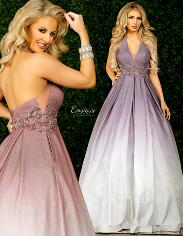 Envious Couture E1423 by Karishma Creations Is a Stunning 2020 Prom Dress. This Long Ball Gown Features an Iridescent Shimmer Fabric with and exquisite Ombre Color Shift. Features a Deep V Halter Neckline. Sheer Crystal Embellished Waist & Mesh side Panels. Absolute Show Stopper!